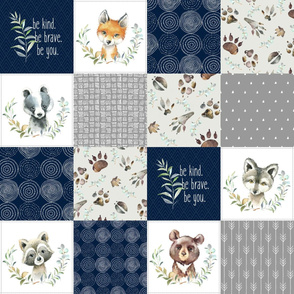 Woodland Animal Tracks Quilt Top – Navy + Grey Patchwork Cheater Quilt, Style A