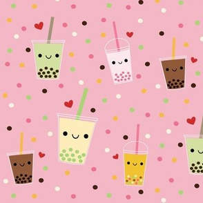 LARGE Happy Boba Bubble Tea - Pink