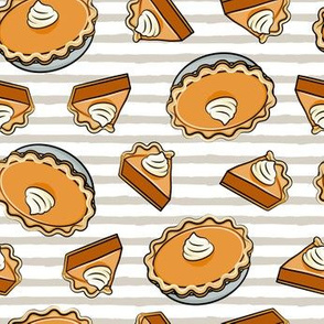 Pumpkin pie - toss - fall food - thanksgiving - pie slice - beige stripes - LAD19