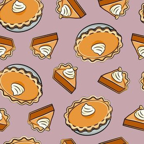 Pumpkin pie - toss - fall food - thanksgiving - pie slice - mauve - LAD19