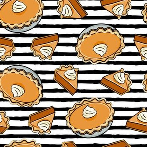 Pumpkin pie - toss - fall food - thanksgiving - pie slice - black stripes - LAD19