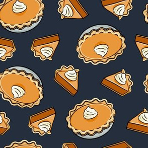 Pumpkin pie - toss - fall food - thanksgiving - pie slice - dark blue - LAD19