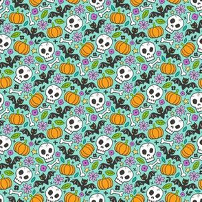 Skulls,Flowers,Pumpkins and Bats Halloween Fall Doodle on Mint Green Tiny Small