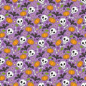Skulls,Flowers,Pumpkins and Bats Halloween Fall Doodle on Purple Tiny Small