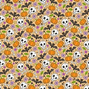 Skulls,Flowers,Pumpkins and Bats Halloween Fall Doodle on Orange Tiny Small