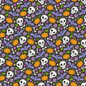 Skulls,Flowers,Pumpkins and Bats Halloween Fall Doodle Purple on Black Tiny Small