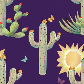 Cacti and Butterflies on Purple