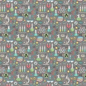 Science Lab School Doodle Dark Grey Tiny Small 0,75 inch