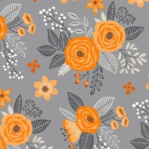 Vintage Antique Floral Flowers Orange on Grey
