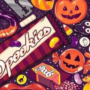 Creepy Halloween Candy on Purple 2X