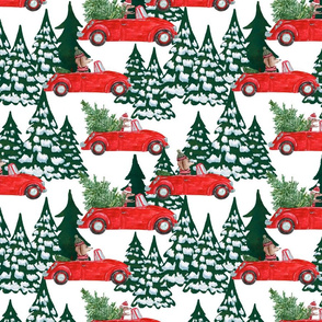 "10""  Holiday Christmas Tree Car and Dachshund in Woodland,christmas fabric,dachshund fabric"