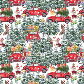 "12"" Holiday Christmas Tree Car and Dachshund in Woodland,christmas fabric,dachshund fabric 1"