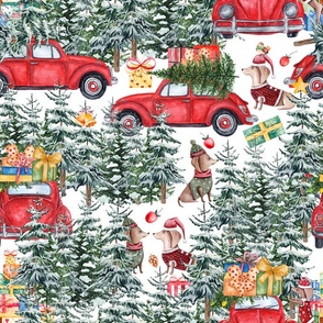 "14"" Holiday Christmas Tree Car and Dachshund in Woodland,christmas fabric,dachshund fabric 3"