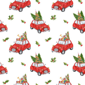 """9""""  nursery, vintage cars, red car, gift, hand drawn, watercolor, woodland trees, cars in snow, winter holiday, christmas, car racing, christmas tree, forest,"""