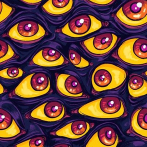 Wall of Eyes in Dark Purple 2X