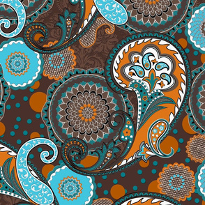 Paisley Mandala orange brown turquoise XL