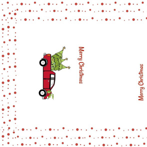Red Truck Christmas- tea towel dotty border