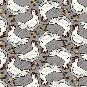 Happy White Hens on Gray