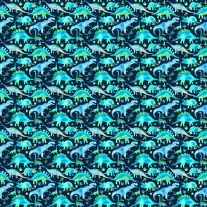 Blue & Green dinosaurs on blue background - tiny scale
