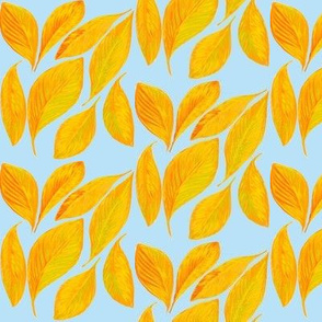Golden Autumn Leaves Tossed by the Breeze on Baby Blue