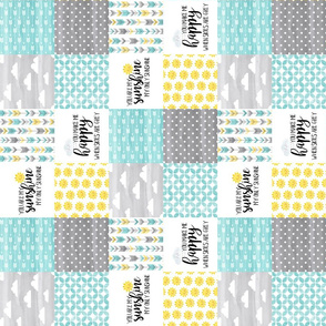 3 inch  Watercolor You are my sunshine//Yellow, Turquoise - Wholecloth Cheater Quilt - Rotated