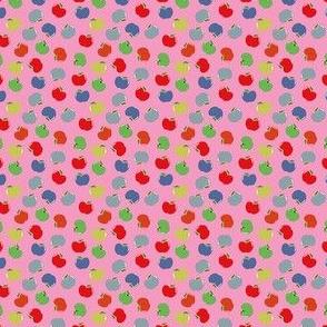 Apples (Multicolor on Pink) Mini Print 1.5inch repeat, David Rose Designs