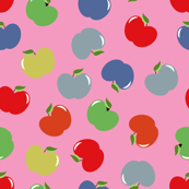 Apples (Multicolor on Pink) Large Scale, 30inch repeat, David Rose Designs