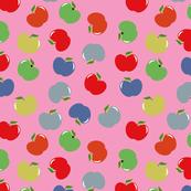 Apples (Multicolor on Pink) Medium Scale, 12inch repeat, David Rose Designs