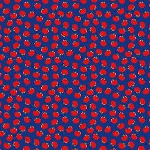 Apples (Red on Blue) Mini Print 1.5inch repeat, David Rose Designs