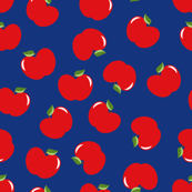Apples (Red on Blue) Extra Large Scale, 40inch repeat, David Rose Designs