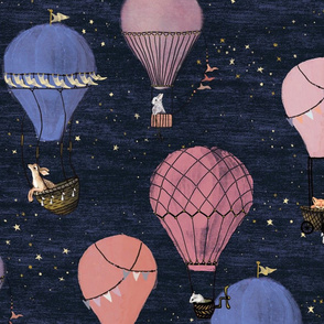 large Forest Animal Hot Air Balloon Adventure in Pink and Purple