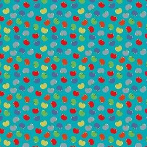 Apples (Multicolor on Spa Blue) Mini Print, 1.5inch repeat, David Rose Designs