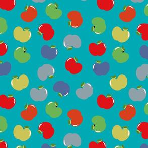 Apples (Multicolor on Spa Blue) Medium Scale, 12inch repeat, David Rose Designs