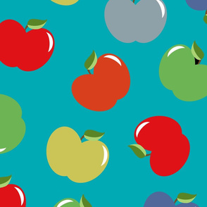 Apples (Multicolor on Spa Blue) Large Scale, 30inch repeat, David Rose Designs