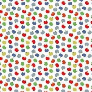 Apples (Multicolor on White) Mini Print, 1.5inch repeat, David Rose Designs