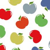 Apples (Multicolor on White) Medium Scale, 12inch repeat, David Rose Designs
