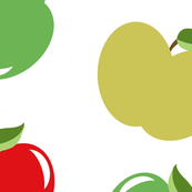 Apples (Multicolor on White)  Large Scale, 30inch repeat, David Rose Designs