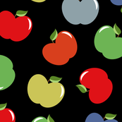 Apples (Multicolor on Charcoal) Large Scale, 30inch repeat, David Rose Designs