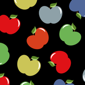 Apples (Multicolor on Charcoal) Medium Scale, 12inch repeat, David Rose Designs
