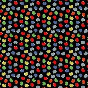 Apples (Multicolor on Black) Mini Print 1.5inch repeat, David Rose Designs