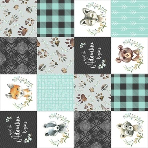Woodland Animal Tracks Quilt Top – Onyx + Mint Patchwork Cheater Quilt ROTATED, Style C