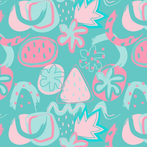 Brushtrokes Abstract - pink & dark aqua