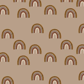 small scattered cinnamon + mocha linen rainbows on 23-6 camel // cinnamon, mocha, 19-16, 13-2
