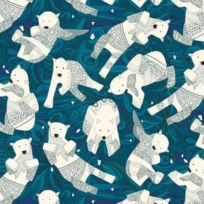 arctic polar bears blue teeny tiny