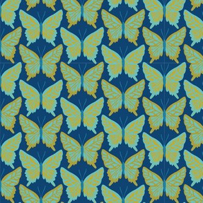 Butterfly Repeat 70's blue and olive