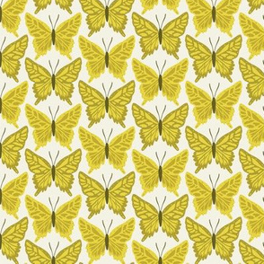 Butterfly Repeat Olive on Ivory