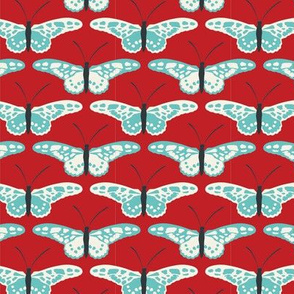 Butterfly Repeat blue and ivory on red
