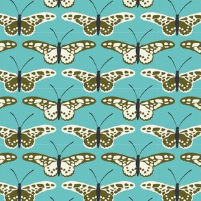 Butterfly Repeat Olive and ivory on blue