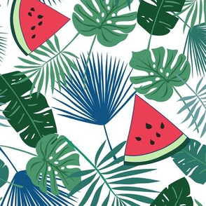 Tropical Leaves and Watermelon