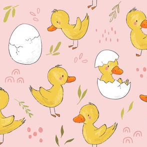 Ducklings, Just Hatched on Pink